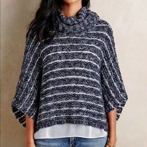 Moth Anthropologie Oslo Knit Marled Poncho Sweater